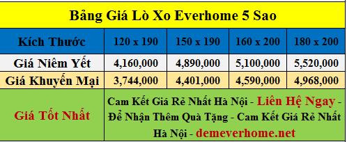 Bảng giá đệm lò xo Everhome 5 sao (1)
